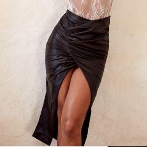 House of CB Elora Black Vegan Leather Wrap Skirt